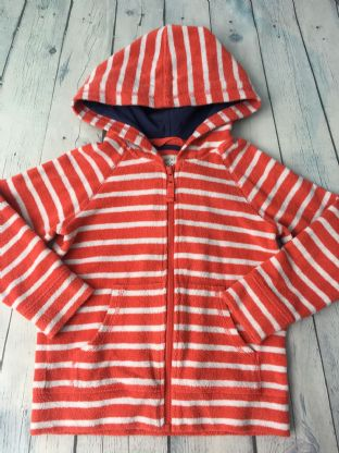 Mini Boden red and white striped towelling zip up hoodie age 5-6